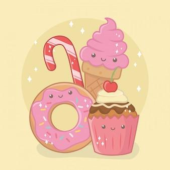 Leckere und süße donut und produkte kawaii charaktere