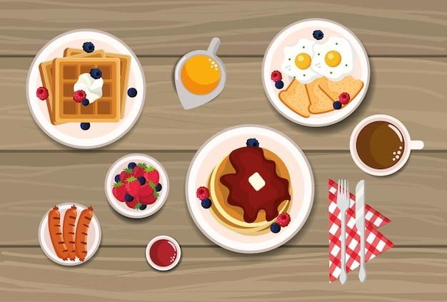 Leckere waffeln mit pfannkuchen und spiegeleiern