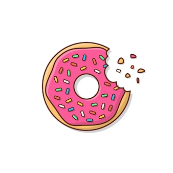Leckerer donut mit einer mundbiss-symbolillustration. niedliche, bunte und glänzende donuts mit glasur und pulver