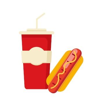Leckerer hot dog und getränk. fast-food-abbildung
