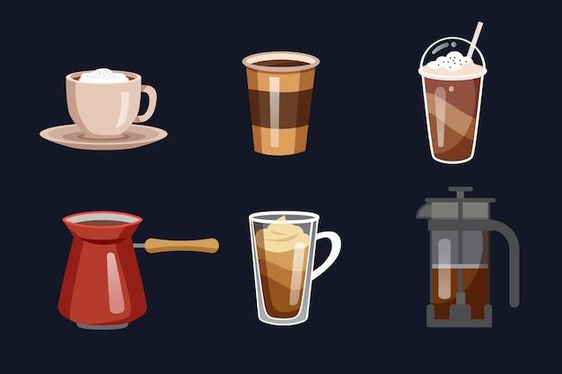 Leckerer kaffee in bechern und wasserkocher