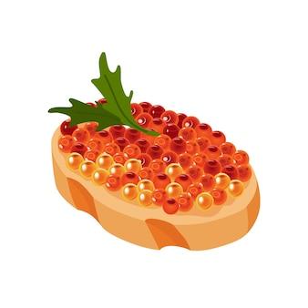 Leckerer kaviar auf brot. meeresfrüchteprodukt aus rotem fisch und stör oder fisch aus der familie der lachse. gourmet-essen hautnah, vorspeise. luxus-delikatessen, isoliert auf weißem hintergrund.