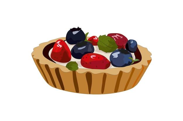 Leckerer kuchen mit sahnebeeren und minze vektorillustration