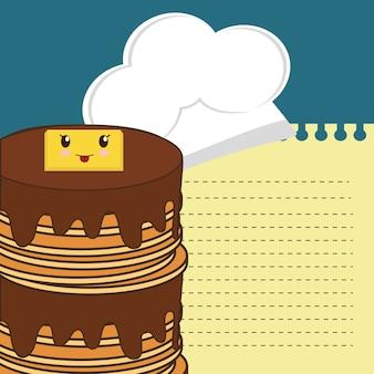 Leckerer pfannkuchen mit sirup und butter frühstückskarte