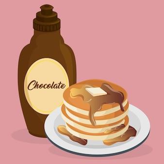 Leckerer pudding mit sirupflasche süß