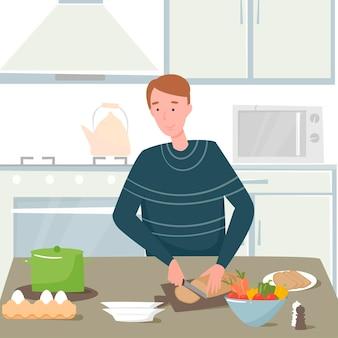 Leckeres abendessen essen flaches design. ein mann bereitet das abendessen in der küche vor. schneidet das brot. geschirr, gemüse, essen.