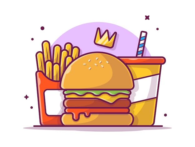 Leckeres combo-menü-käse-burger mit krone, pommes frites und soda, illustration weiß isoliert