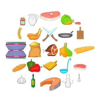 Leckeres essen icons set. karikatursatz von 25 geschmackvollen lebensmittelikonen für das netz lokalisiert auf weiß
