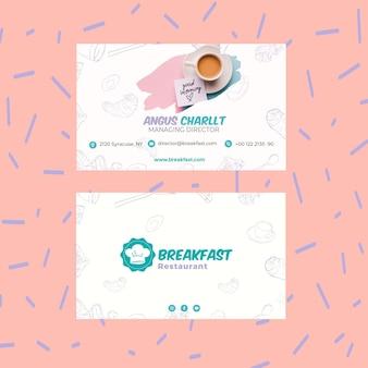 Leckeres frühstück visitenkarte