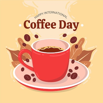 Leckeres kaffeegetränk und bohnen