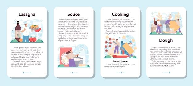 Leckeres lasagne-banner für mobile anwendungen stellte italienische köstliche küche ein