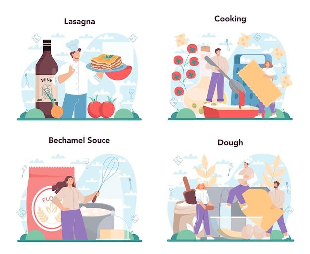 Leckeres lasagne-set. italienische köstliche küche auf dem teller. leute, die käse- und fleischmahlzeiten zum abendessen oder mittagessen kochen. isolierte flache vektorillustration