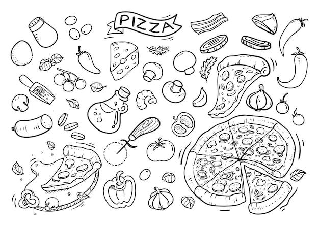 Leckeres pizza gekritzel