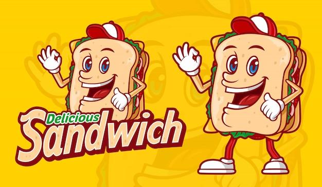 Leckeres sandwich mit lustiger zeichentrickfigur und kombinierter typografie