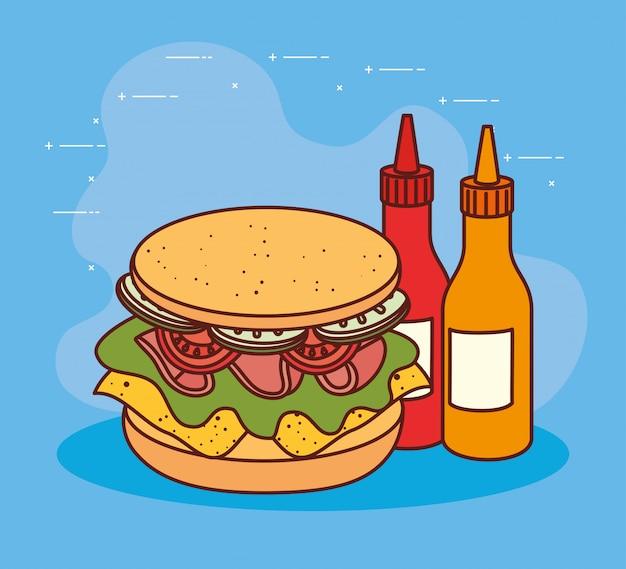 Leckeres sandwich mit saucen in flaschen