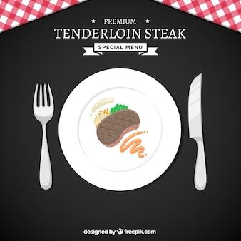 Leckeres steak auf einem teller hintergrund