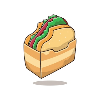 Leckeres toastsandwich im cartoon-stil
