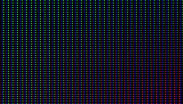 Led-bildschirm textur. lcd-monitor. analoge digitalanzeige. elektronischer diodeneffekt. videowand für farbfernsehen. rastervorlage für projektoren. pixelierter hintergrund mit glühbirnen. vektor-illustration.