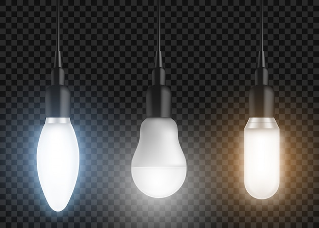Led-lampen eingestellt. leuchtende lampen, moderne glühbirnen