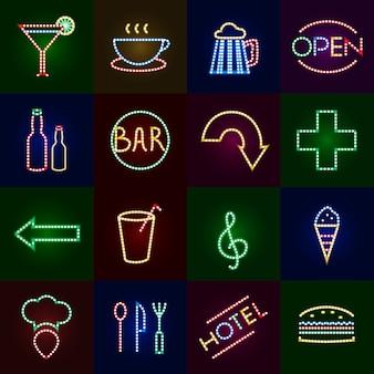 Led-leuchten icons set