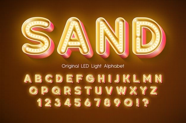 Led-licht 3d alphabet, extra leuchtender moderner typ.