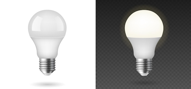 Led-licht emittierende diode energiesparende glühbirne auf vorlagenhintergrund isoliert. glühende fluoreszierende glühbirnen. 3d-vektor-illustration