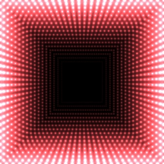 Led spiegeln abstrakten quadratischen hintergrund wider. rote lodernde lichter, die zur mitte verblassen.