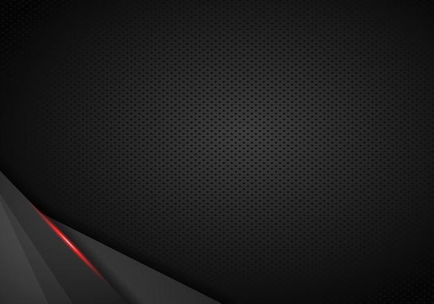 Leder chrome automotive hintergrund. schwarzer und roter metallischer hintergrund. vektor-illustration