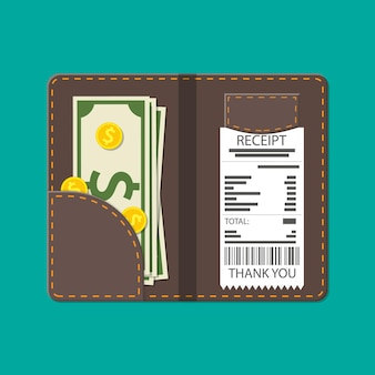 Ledermappe mit bargeld, münzen und kassenscheck. danke für den service im restaurant. geld für den service. gutes feedback zum kellner. trinkgeld-konzept. vektorillustration im flachen stil