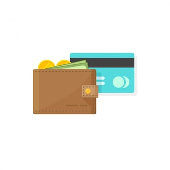 Lederne geldbörse mit münzengeld, papierbargeld und kredit oder debitkarte vector flaches karikaturdesign der illustration