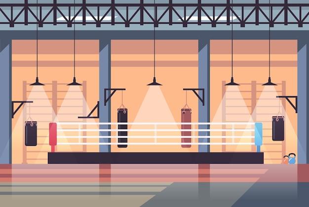 Leer keine menschen boxring modernen kampf club interieur