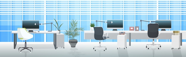 Leer keine menschen coworking center moderne arbeitsplätze offene räume büro interieur horizontal