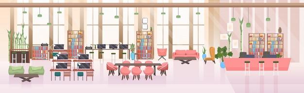 Leer keine menschen offener raum kreative zusammenarbeit zentrum modernen arbeitsplatz büro innen horizontale banner