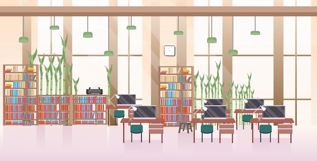 Leer keine menschen offener raum kreative zusammenarbeit zentrum modernen arbeitsplatz büro interieur horizontal