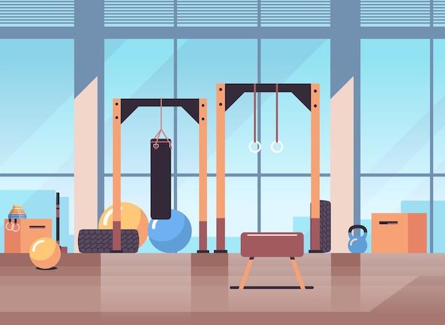 Leer keine menschen sport gym innenraum trainingsgeräte fitness-training gesunden lebensstil konzept