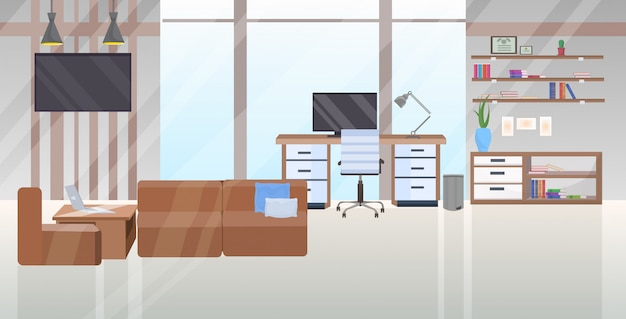 Leer keine menschen zeitgenössischen arbeitsbereich mit arbeitsplatz schreibtisch und couch modernen büroschrank innenraum flach horizontal