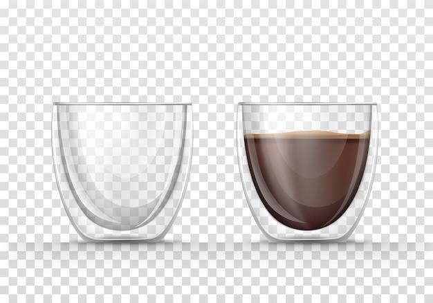Leer und voller kaffeetassen im realistischen stil