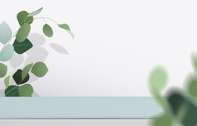 Leer von weißer und grüner tischplatte auf weißem hintergrund mit grünen blättern. für die montage von produktpräsentationen oder design-banner-modellen. 3d-vektor