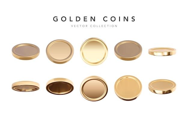 Leere 3d-goldmünzen, die in verschiedenen positionen isoliert sind.