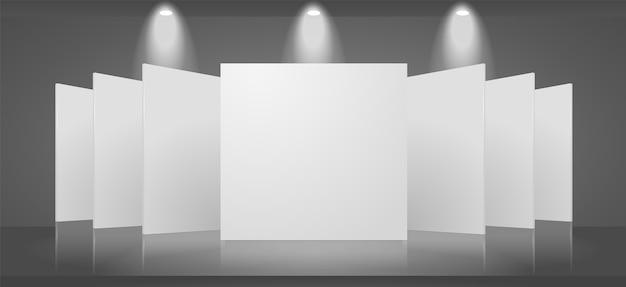 Leere 3d-vorlage einer ausstellungsszene mit einem leeren ständer. das bild enthält transparente lichter und schatten