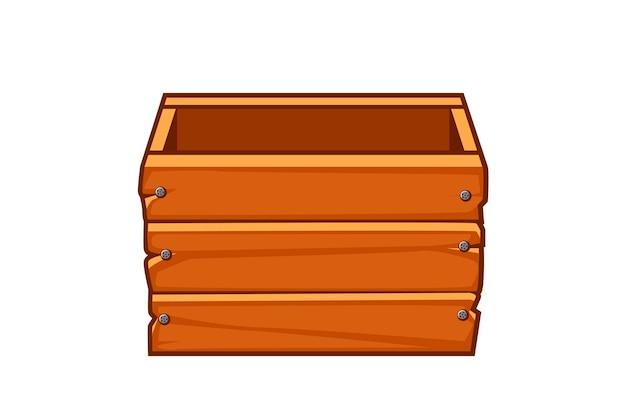 Leere alte holzkiste für grafikdesign. vektorillustration des braunen vorratsbehälters für ui-spiele.