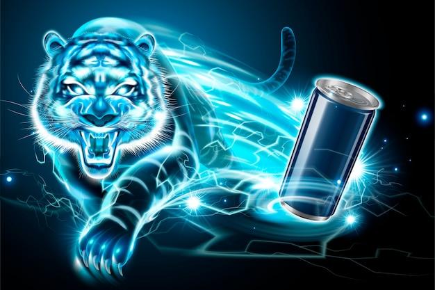 Leere aluminiumdose und blitzschneller tiger-effekt