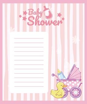 Leere anmerkungskarte der babyparty mit netten tierkarikaturen