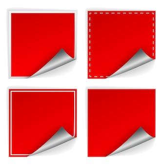 Leere aufkleber des roten quadrats mit lockensätzen