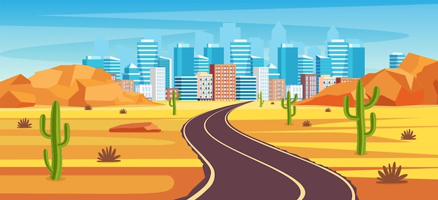 Leere autobahnstraße in der wüste, die zu einer großstadt führt.
