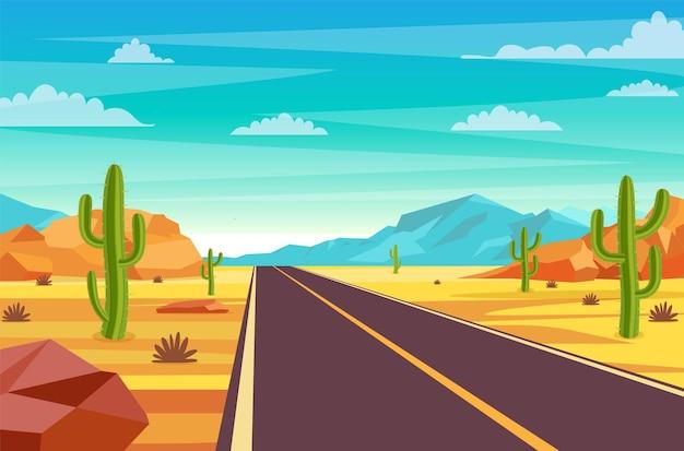 Leere autobahnstraße in der wüste.