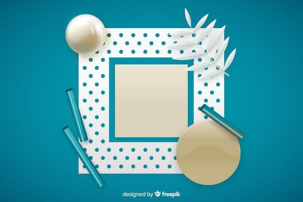 Leere banner mit dreidimensionalen geometrischen formen
