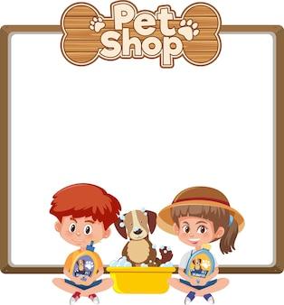 Leere banner mit kind und niedlichem hunde- und tierhandlungslogo lokalisiert auf weiß