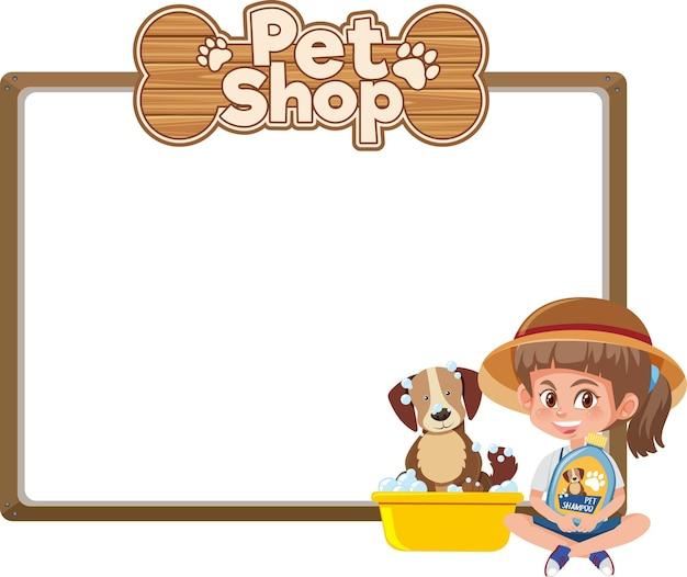 Leere banner mit kind und niedlichem hunde- und tierhandlungslogo lokalisiert auf weißem hintergrund