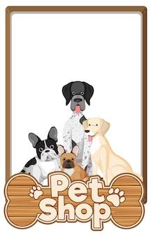 Leere banner mit niedlichem hunde- und tierhandlungslogo lokalisiert auf weiß